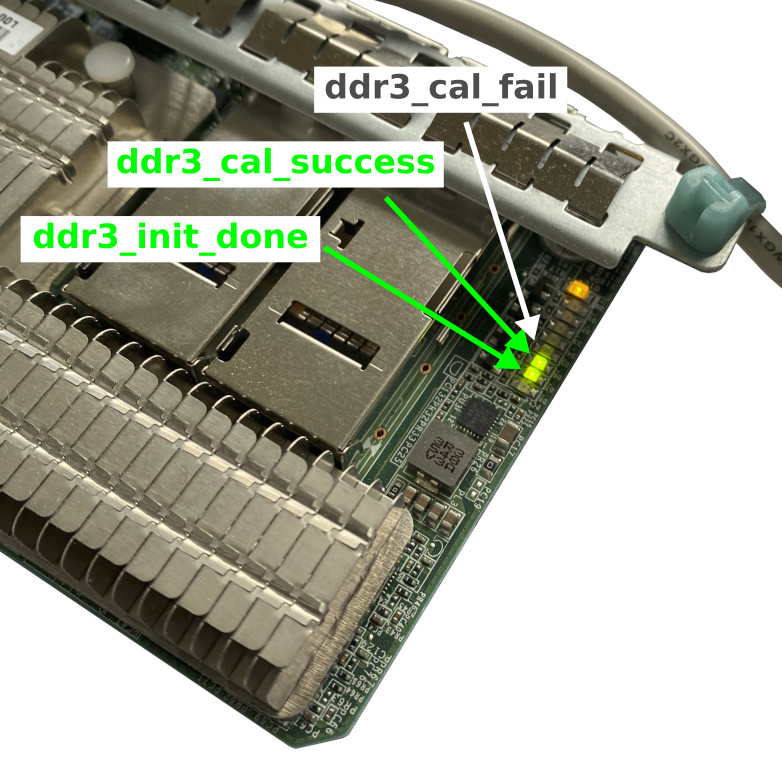 LEDs indicating a success of the DDR3 controller initialization procedure